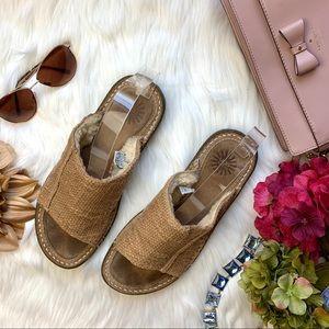 UGG Sandals Slip On Fluffy Brown Cream Size 8